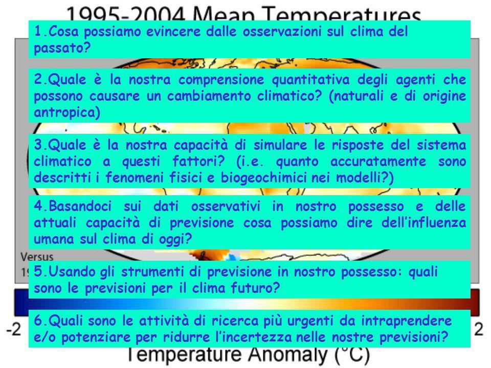 1.Cosa possiamo evincere dalle osservazioni sul clima del passato? 2.Quale è la nostra comprensione quantitativa degli agenti che possono causare un c