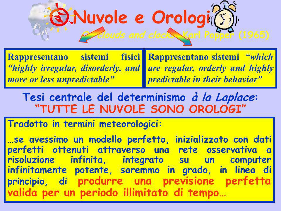 Nuvole e Orologi Of clouds and clocks Karl Popper (1965) Rappresentano sistemi fisici highly irregular, disorderly, and more or less unpredictable Rap