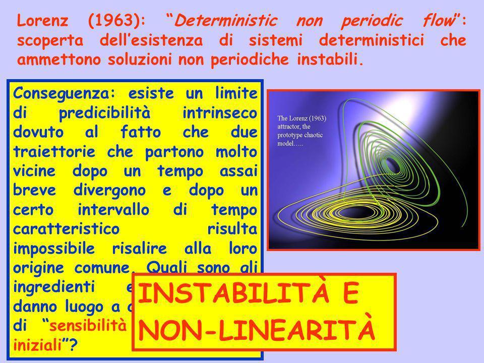 Lorenz (1963): Deterministic non periodic flow: scoperta dellesistenza di sistemi deterministici che ammettono soluzioni non periodiche instabili. Con