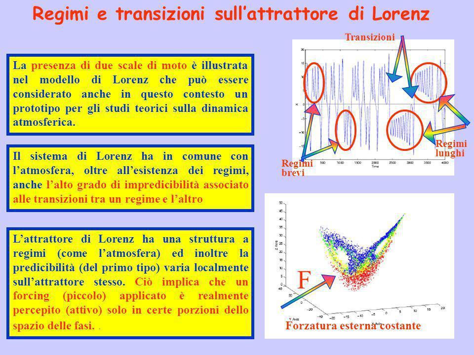 Lattrattore di Lorenz ha una struttura a regimi (come latmosfera) ed inoltre la predicibilità (del primo tipo) varia localmente sullattrattore stesso.