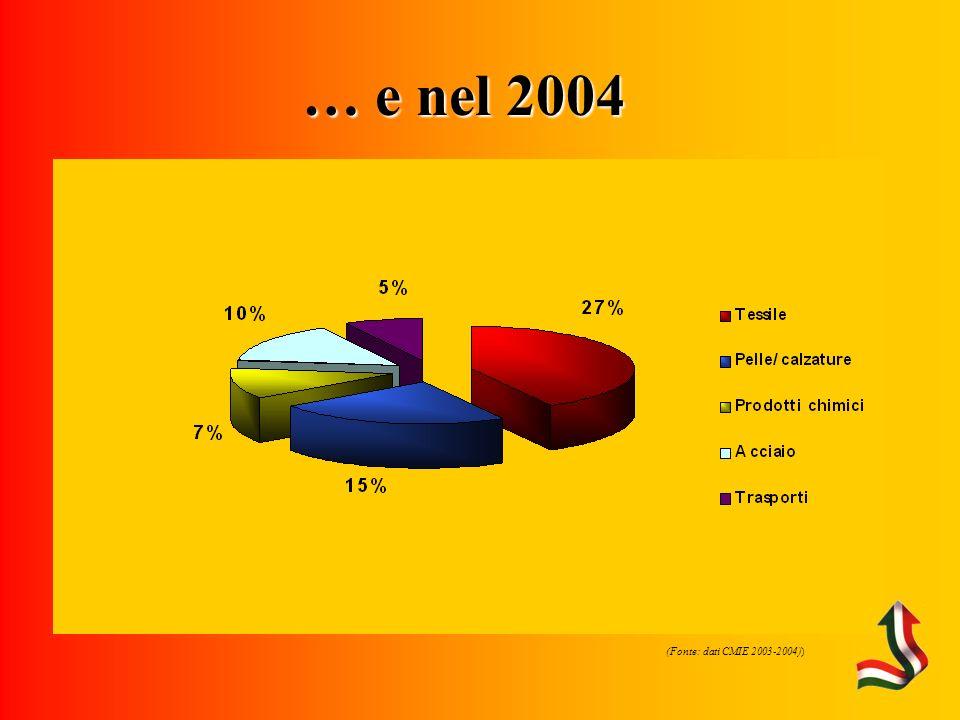 Fonte: CMIE) … e nel 2004 (Fonte: dati CMIE 2003-2004))
