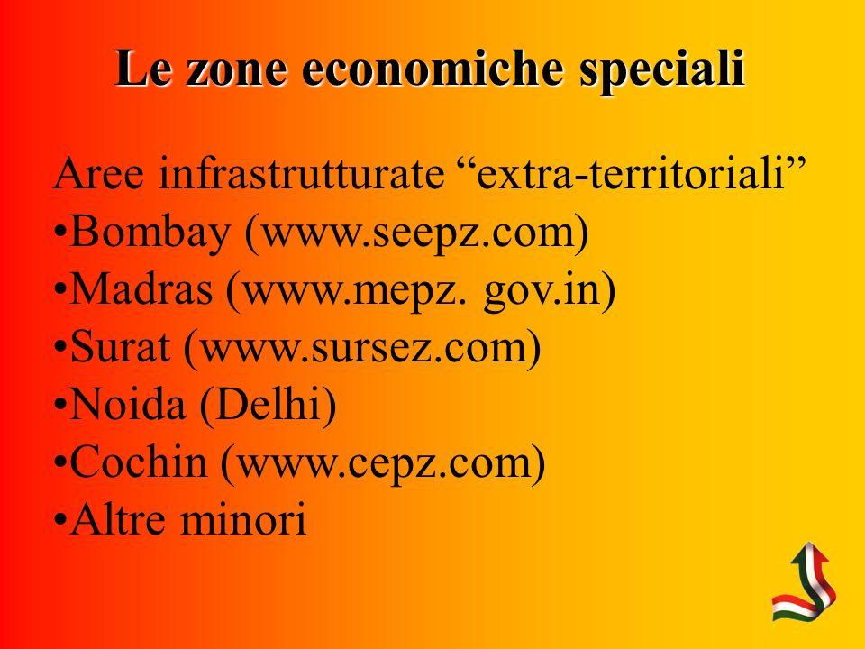 Le zone economiche speciali Aree infrastrutturate extra-territoriali Bombay (www.seepz.com) Madras (www.mepz.
