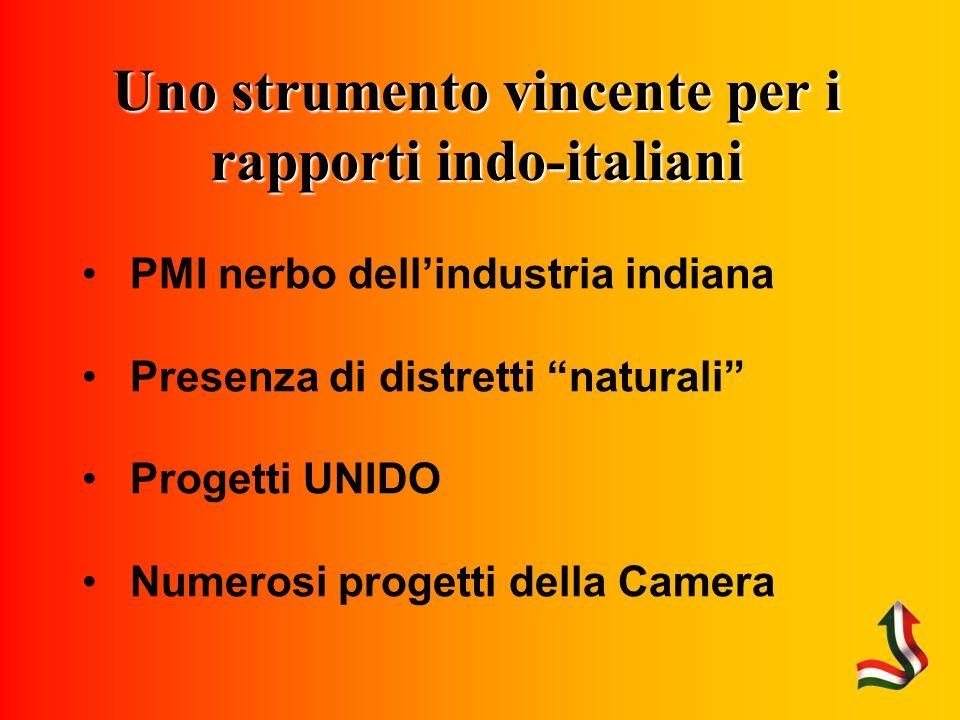 Uno strumento vincente per i rapporti indo-italiani PMI nerbo dellindustria indiana Presenza di distretti naturali Progetti UNIDO Numerosi progetti della Camera