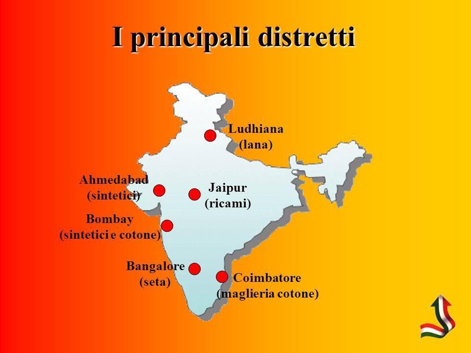 I principali distretti Ahmedabad (sintetici) Bangalore (seta) Jaipur (ricami) Ludhiana (lana) Coimbatore (maglieria cotone) Bombay (sintetici e cotone)