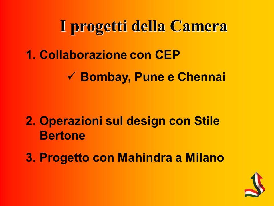 I progetti della Camera Collaborazione con CEP Bombay, Pune e Chennai Operazioni sul design con Stile Bertone Progetto con Mahindra a Milano