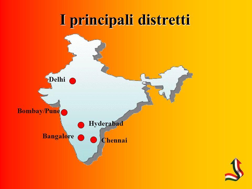 I principali distretti Chennai Bombay/Pune Delhi Hyderabad Bangalore