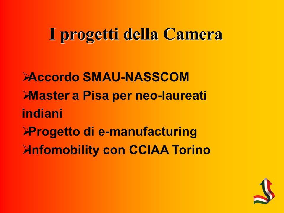 I progetti della Camera Accordo SMAU-NASSCOM Master a Pisa per neo-laureati indiani Progetto di e-manufacturing Infomobility con CCIAA Torino
