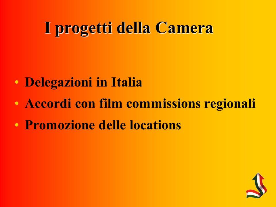 I progetti della Camera Delegazioni in Italia Accordi con film commissions regionali Promozione delle locations