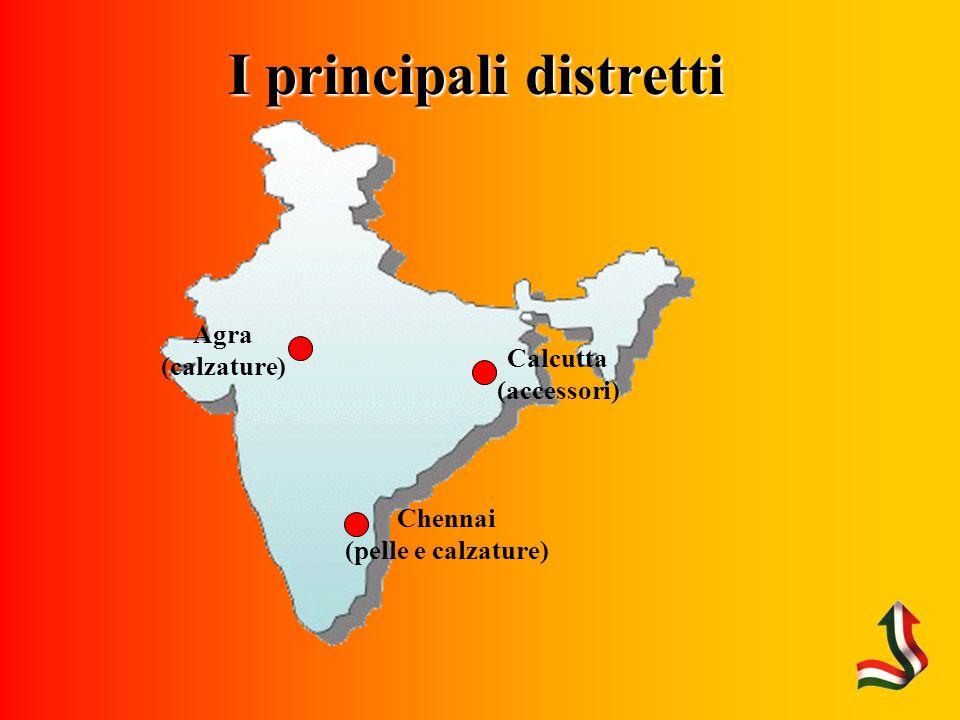 I principali distretti Calcutta (accessori) Agra (calzature) Chennai (pelle e calzature)
