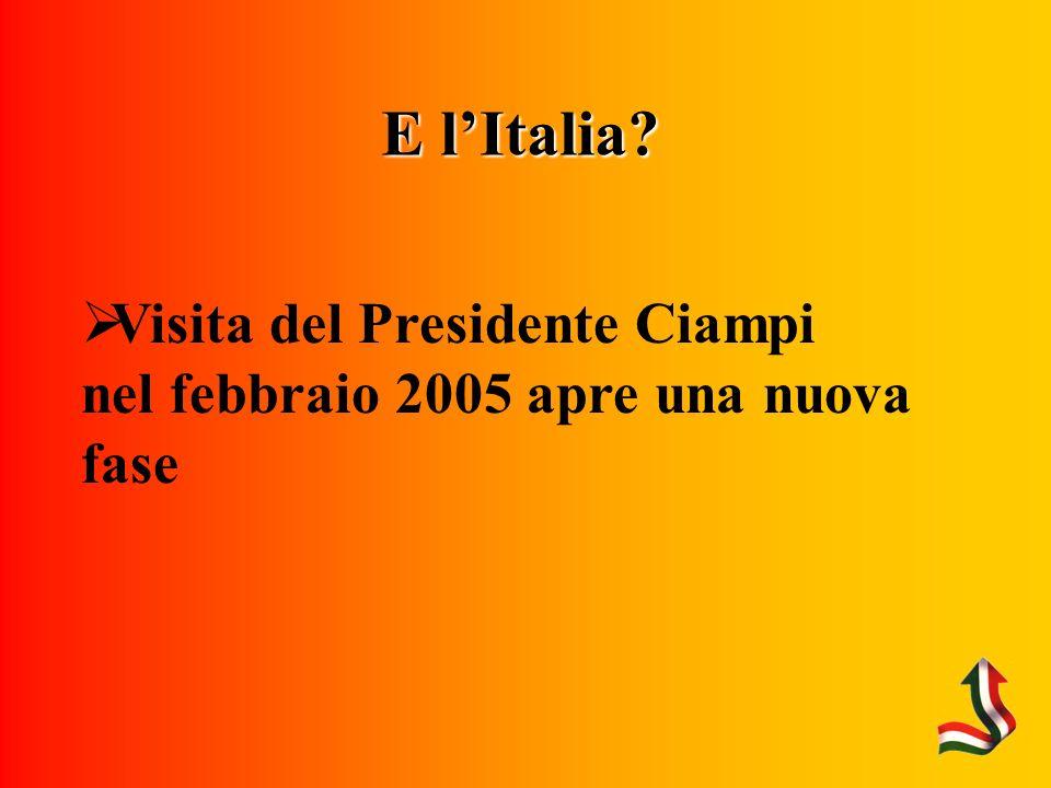 E lItalia Visita del Presidente Ciampi nel febbraio 2005 apre una nuova fase