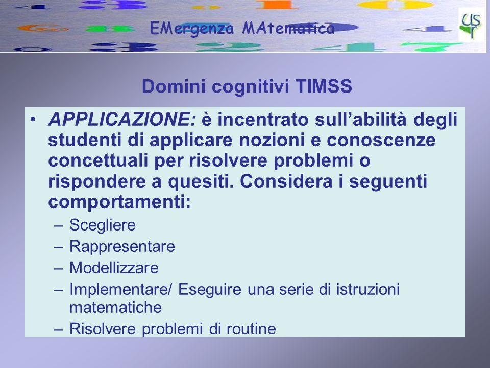 Domini cognitivi TIMSS RAGIONAMENTO: va oltre la soluzione di problemi di routine per includere situazioni non familiari, contesti complessi e problemi che richiedono una soluzione in più fasi.