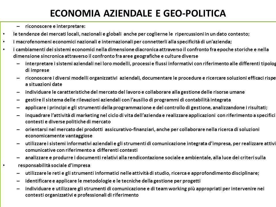 ECONOMIA AZIENDALE E GEO-POLITICA – riconoscere e interpretare: le tendenze dei mercati locali, nazionali e globali anche per coglierne le ripercussio