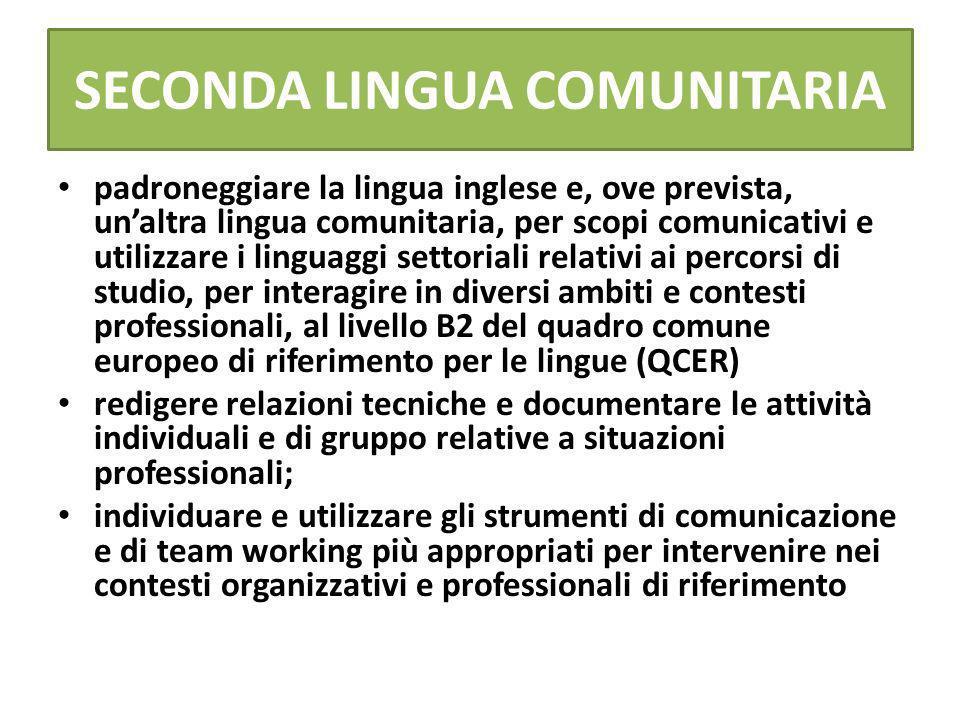 SECONDA LINGUA COMUNITARIA padroneggiare la lingua inglese e, ove prevista, unaltra lingua comunitaria, per scopi comunicativi e utilizzare i linguagg