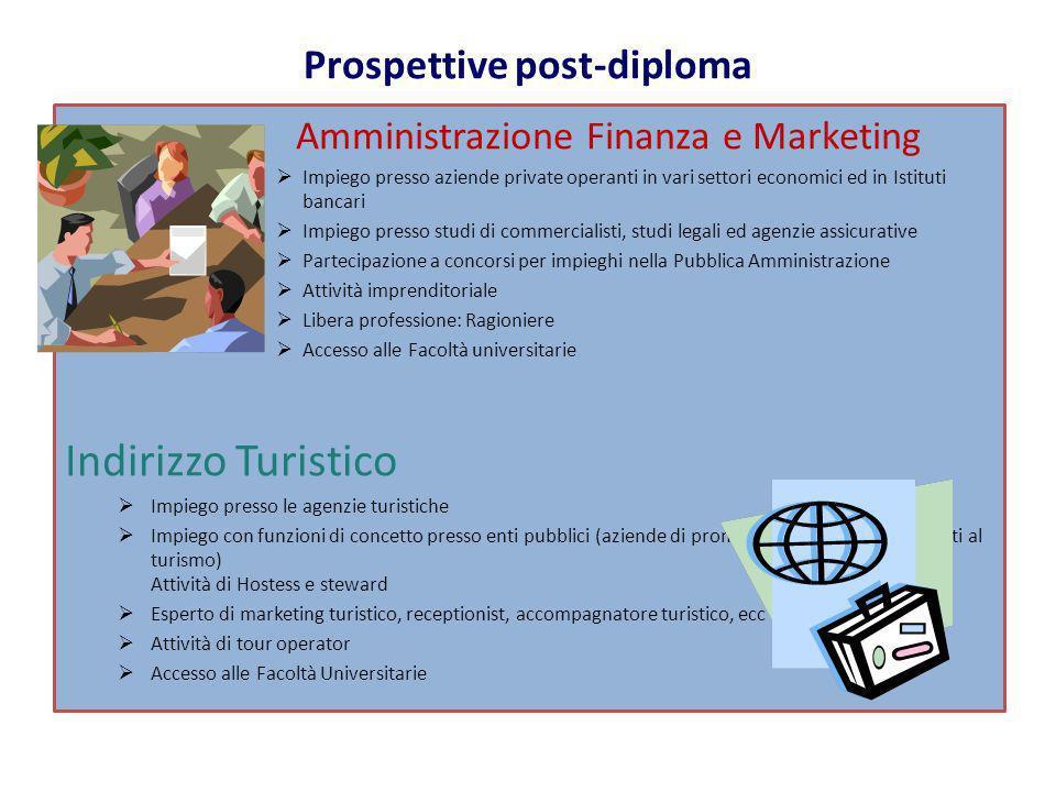 Amministrazione Finanza e Marketing Impiego presso aziende private operanti in vari settori economici ed in Istituti bancari Impiego presso studi di c