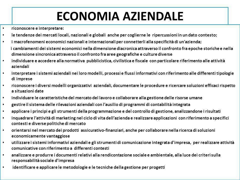 ECONOMIA AZIENDALE riconoscere e interpretare: le tendenze dei mercati locali, nazionali e globali anche per coglierne le ripercussioni in un dato con