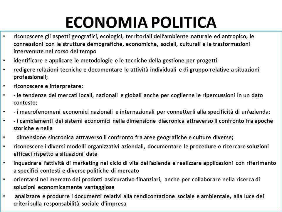 ECONOMIA POLITICA riconoscere gli aspetti geografici, ecologici, territoriali dellambiente naturale ed antropico, le connessioni con le strutture demo