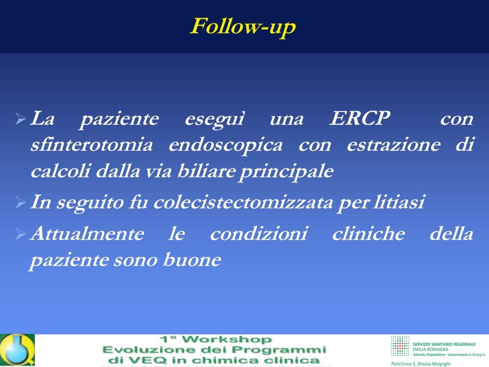 Follow-up La paziente eseguì una ERCP con sfinterotomia endoscopica con estrazione di calcoli dalla via biliare principale In seguito fu colecistectom