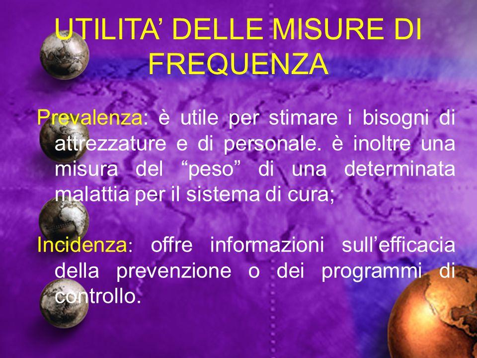 UTILITA DELLE MISURE DI FREQUENZA Prevalenza: è utile per stimare i bisogni di attrezzature e di personale. è inoltre una misura del peso di una deter