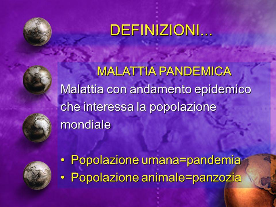 MALATTIA PANDEMICA Malattia con andamento epidemico che interessa la popolazione mondiale Popolazione umana=pandemiaPopolazione umana=pandemia Popolaz