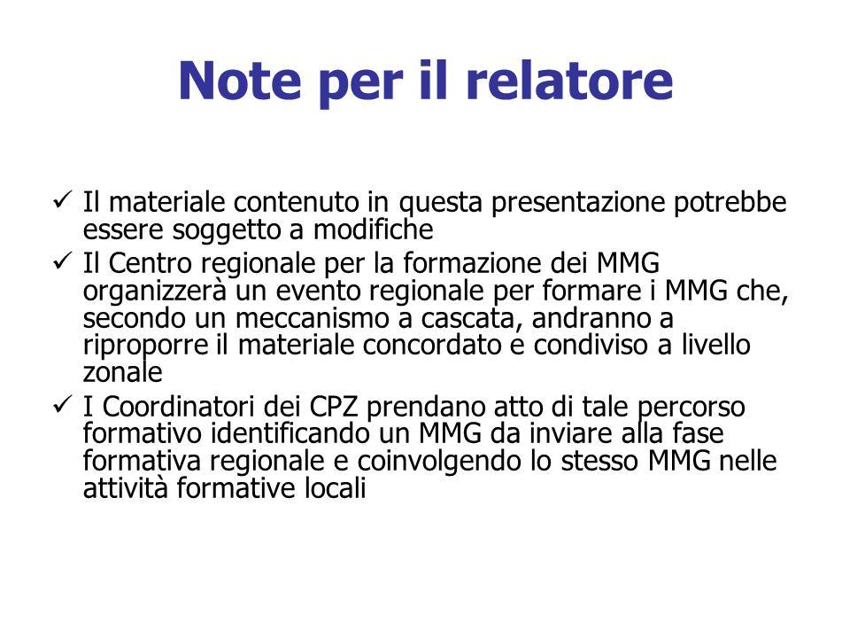Note per il relatore Il materiale contenuto in questa presentazione potrebbe essere soggetto a modifiche Il Centro regionale per la formazione dei MMG