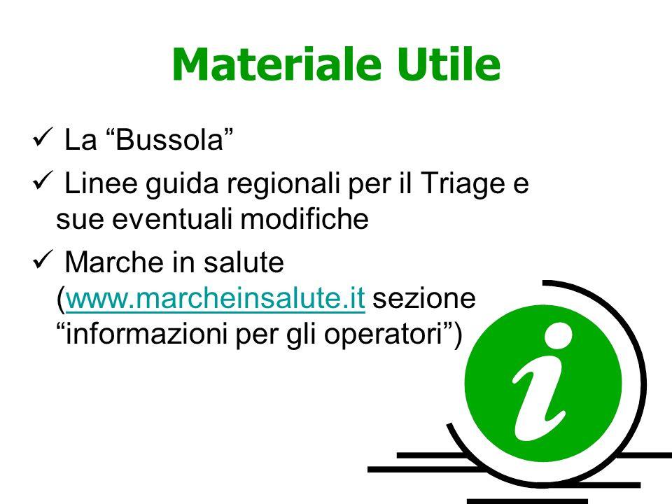 Materiale Utile La Bussola Linee guida regionali per il Triage e sue eventuali modifiche Marche in salute (www.marcheinsalute.it sezione informazioni