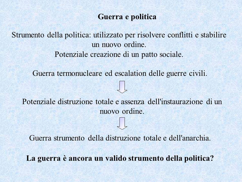 Guerra e politica Strumento della politica: utilizzato per risolvere conflitti e stabilire un nuovo ordine. Potenziale creazione di un patto sociale.