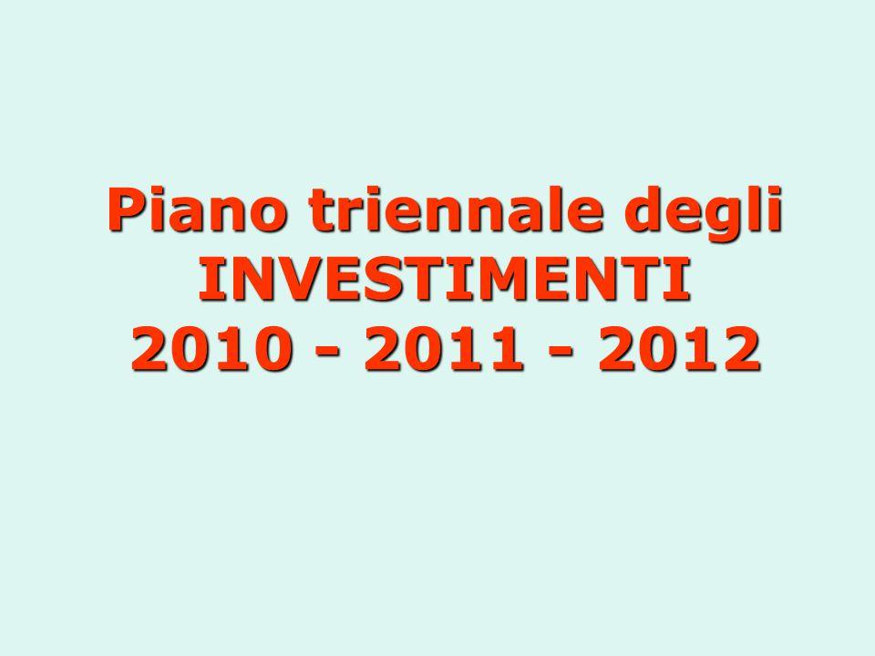 Piano triennale degli INVESTIMENTI 2010 - 2011 - 2012