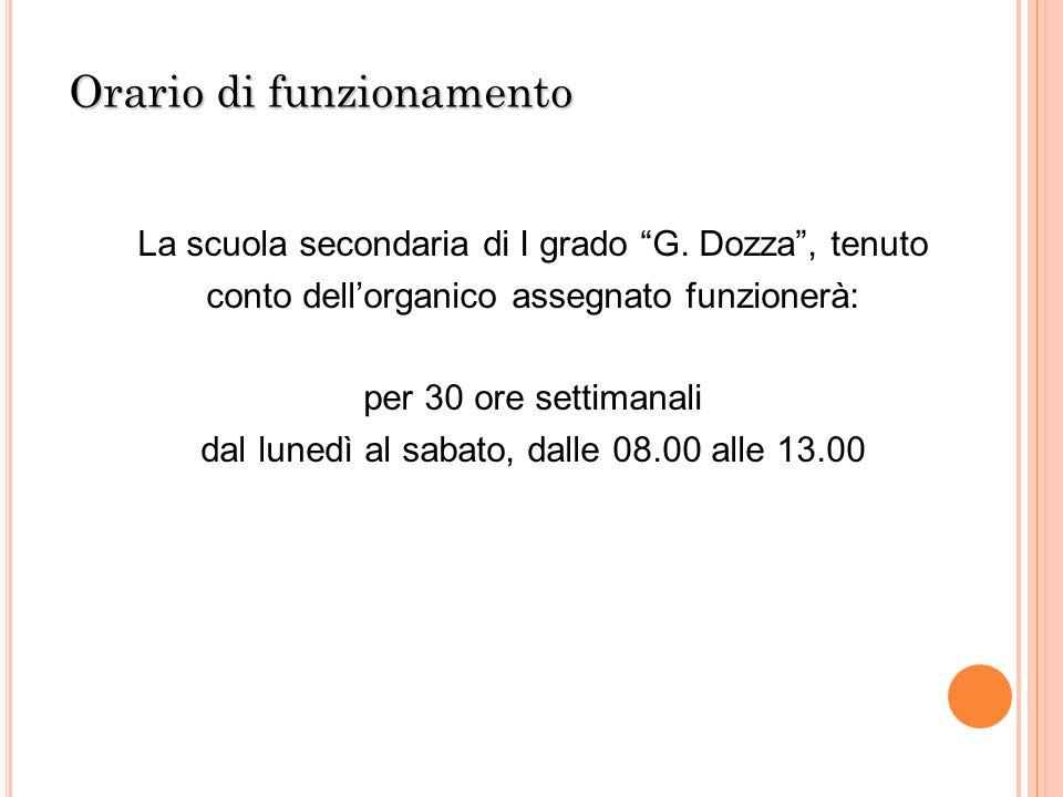 Orario di funzionamento La scuola secondaria di I grado G. Dozza, tenuto conto dellorganico assegnato funzionerà: per 30 ore settimanali dal lunedì al