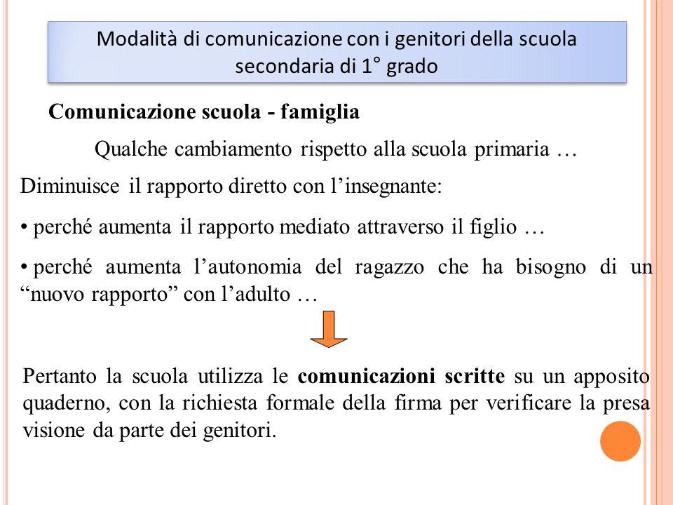 Modalità di comunicazione con i genitori della scuola secondaria di 1° grado Comunicazione scuola - famiglia Qualche cambiamento rispetto alla scuola