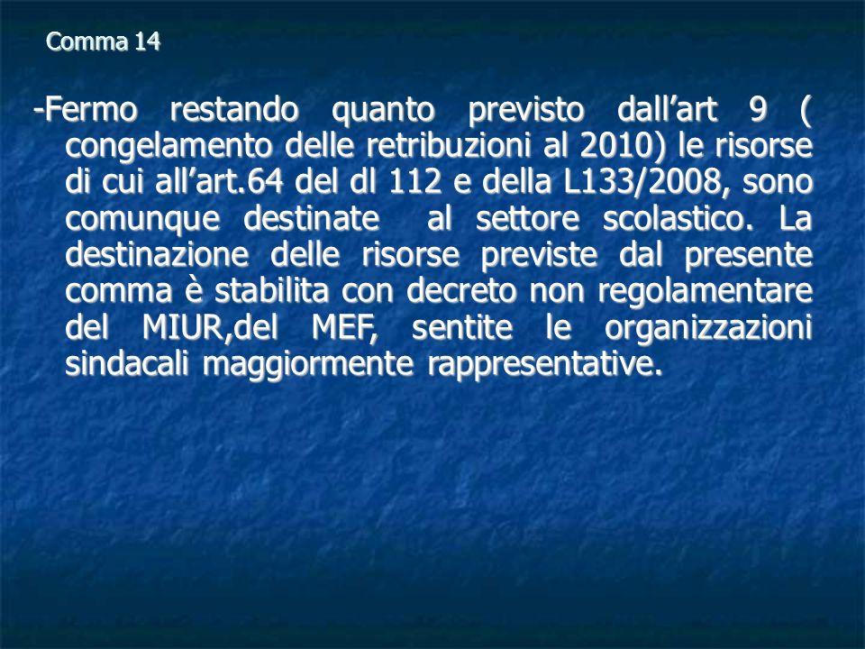Comma 14 -Fermo restando quanto previsto dallart 9 ( congelamento delle retribuzioni al 2010) le risorse di cui allart.64 del dl 112 e della L133/2008, sono comunque destinate al settore scolastico.
