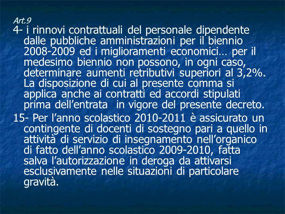 Art.9 4- i rinnovi contrattuali del personale dipendente dalle pubbliche amministrazioni per il biennio 2008-2009 ed i miglioramenti economici… per il medesimo biennio non possono, in ogni caso, determinare aumenti retributivi superiori al 3,2%.