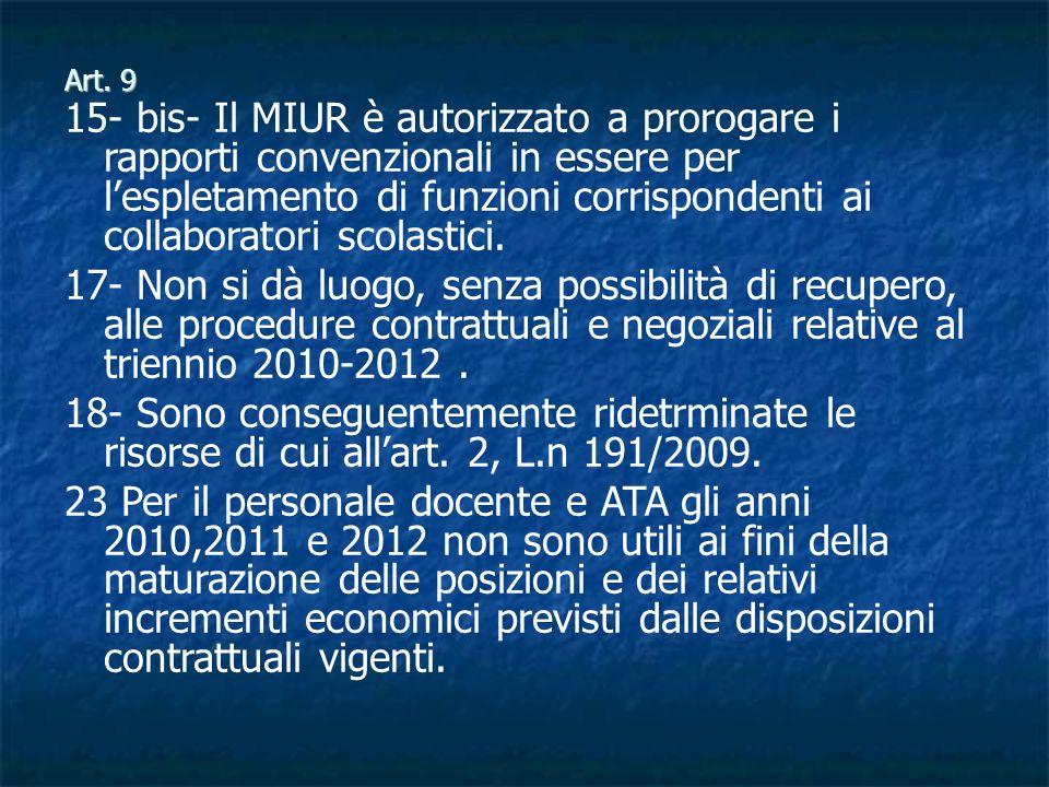 Art. 9 15- bis- Il MIUR è autorizzato a prorogare i rapporti convenzionali in essere per lespletamento di funzioni corrispondenti ai collaboratori sco