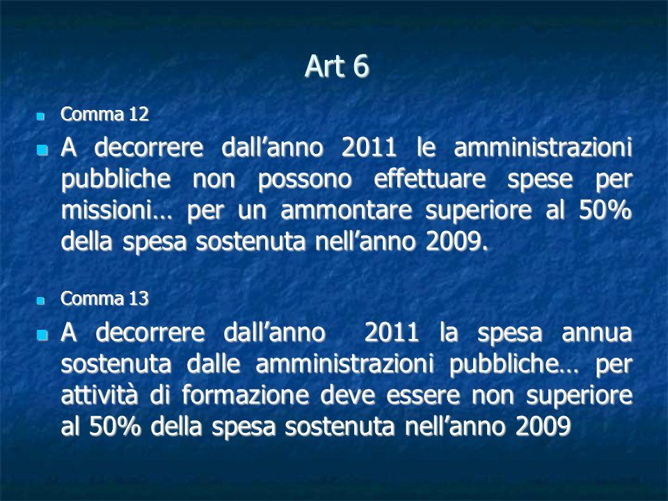 Art 6 Comma 12 Comma 12 A decorrere dallanno 2011 le amministrazioni pubbliche non possono effettuare spese per missioni… per un ammontare superiore al 50% della spesa sostenuta nellanno 2009.