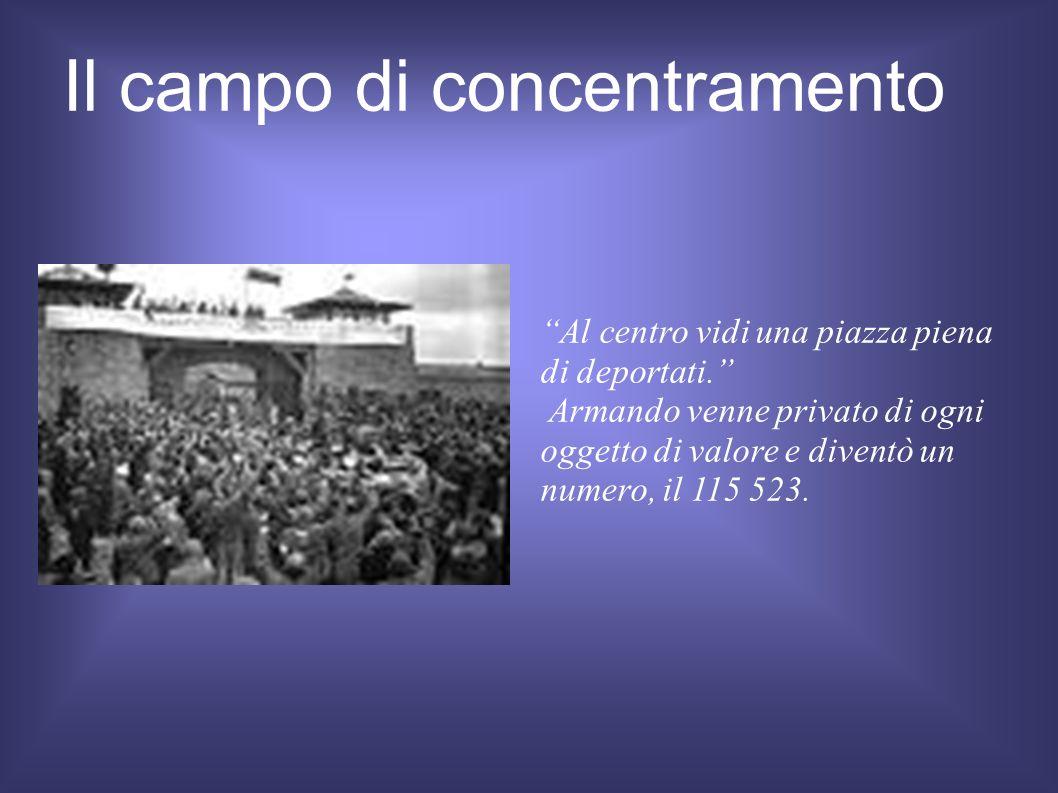 Il campo di concentramento Al centro vidi una piazza piena di deportati. Armando venne privato di ogni oggetto di valore e diventò un numero, il 115 5
