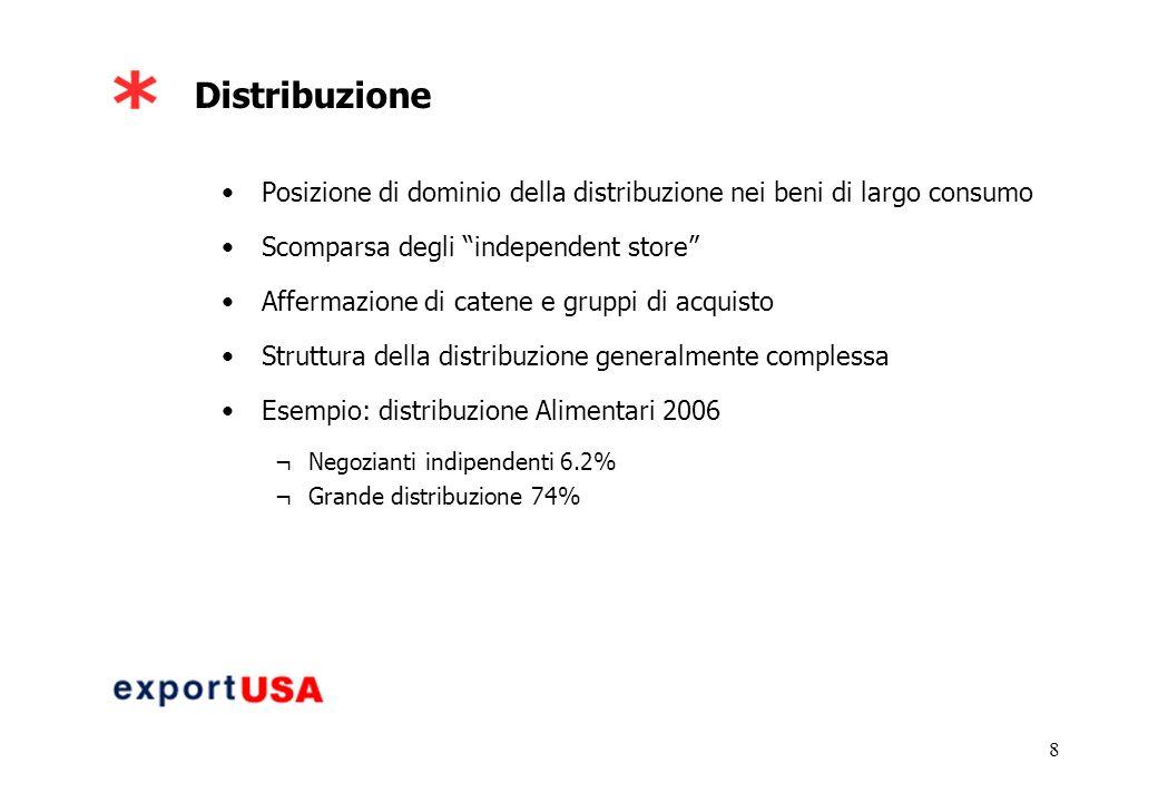 8 Distribuzione Posizione di dominio della distribuzione nei beni di largo consumo Scomparsa degli independent store Affermazione di catene e gruppi di acquisto Struttura della distribuzione generalmente complessa Esempio: distribuzione Alimentari 2006 ¬Negozianti indipendenti 6.2% ¬Grande distribuzione 74%