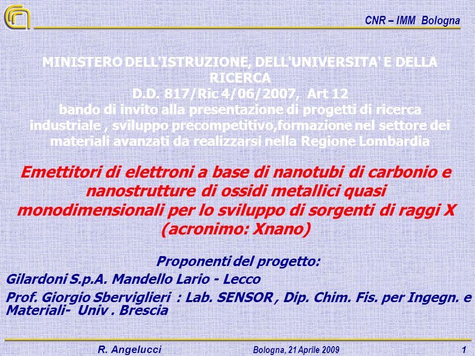 CNR – IMM Bologna R.Angelucci Bologna, 21 Aprile 2009 1 Proponenti del progetto: Gilardoni S.p.A.