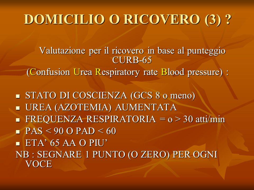 DOMICILIO O RICOVERO (3) ? Valutazione per il ricovero in base al punteggio CURB-65 (Confusion Urea Respiratory rate Blood pressure) : STATO DI COSCIE