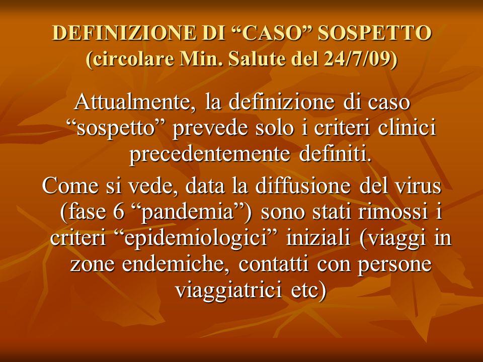 DEFINIZIONE DI CASO SOSPETTO (circolare Min. Salute del 24/7/09) Attualmente, la definizione di caso sospetto prevede solo i criteri clinici precedent