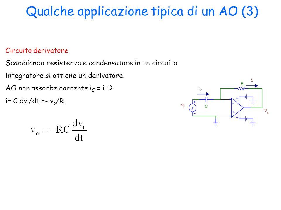 Circuito derivatore Scambiando resistenza e condensatore in un circuito integratore si ottiene un derivatore. AO non assorbe corrente i C = i i= C dv
