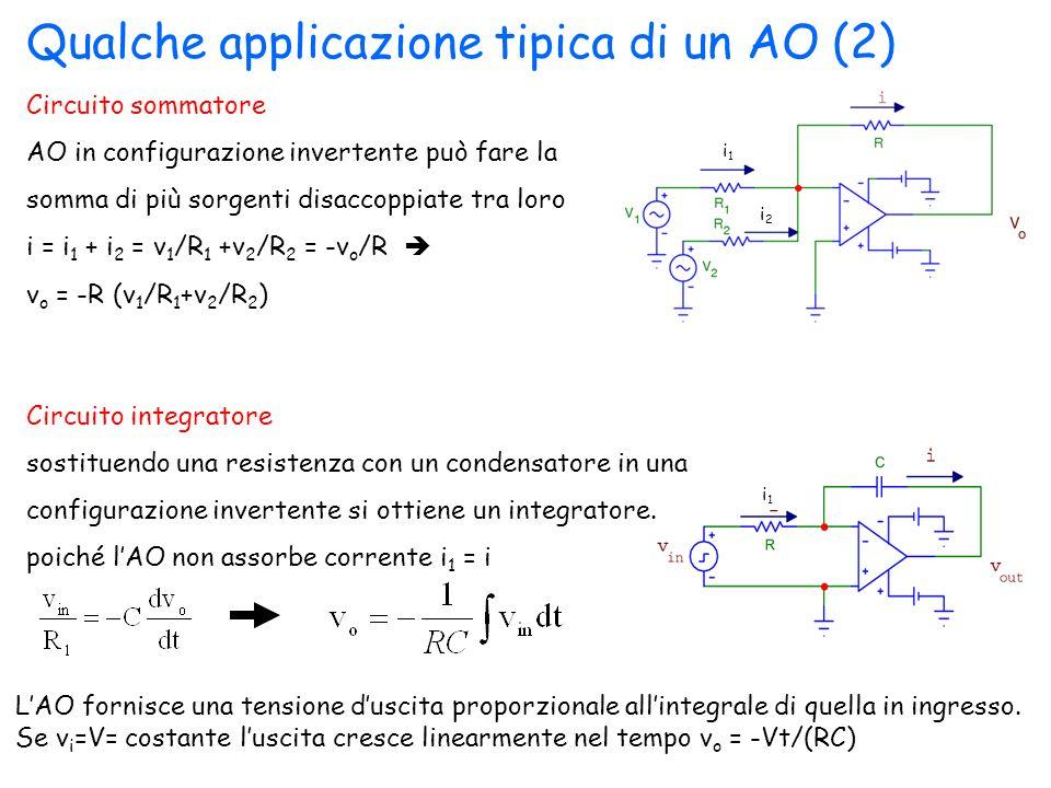 Qualche applicazione tipica di un AO (2) Circuito sommatore AO in configurazione invertente può fare la somma di più sorgenti disaccoppiate tra loro i