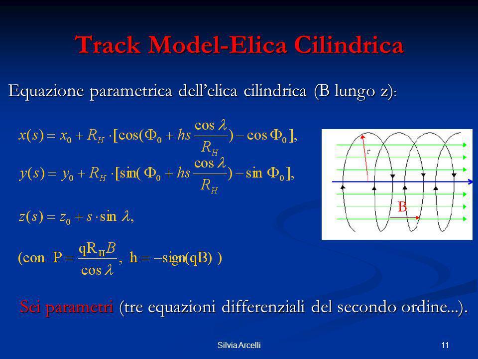 11Silvia Arcelli Track Model-Elica Cilindrica Equazione parametrica dellelica cilindrica (B lungo z) : Sei parametri (tre equazioni differenziali del