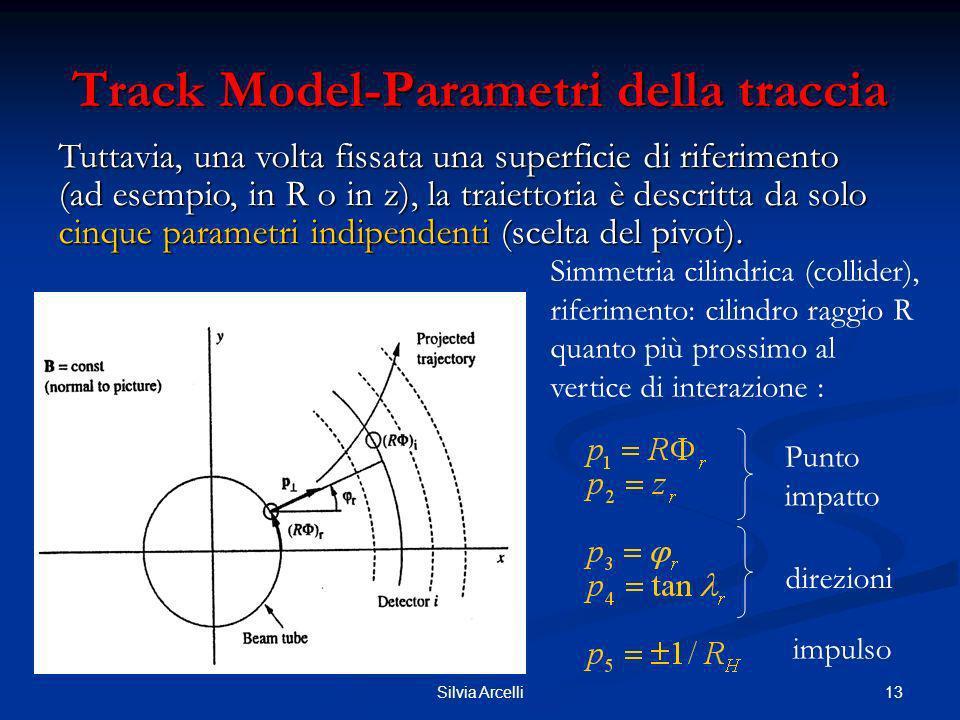 13Silvia Arcelli Track Model-Parametri della traccia Tuttavia, una volta fissata una superficie di riferimento (ad esempio, in R o in z), la traiettor