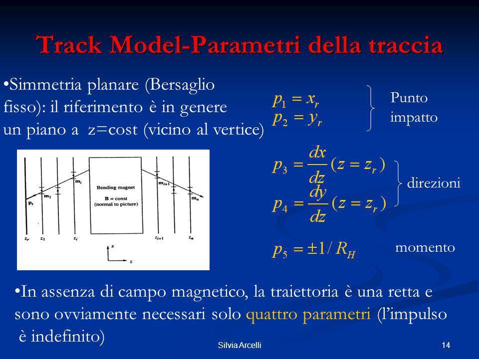 14Silvia Arcelli Track Model-Parametri della traccia Simmetria planare (Bersaglio fisso): il riferimento è in genere un piano a z=cost (vicino al vert