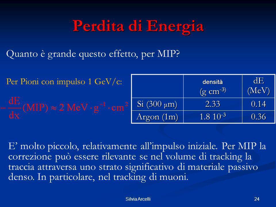 24Silvia Arcelli Perdita di Energia densità (g cm -3) dE (MeV) Si (300 μ m) 2.330.14 Argon (1m) 1.8 10 -3 0.36 Per Pioni con impulso 1 GeV/c: E molto