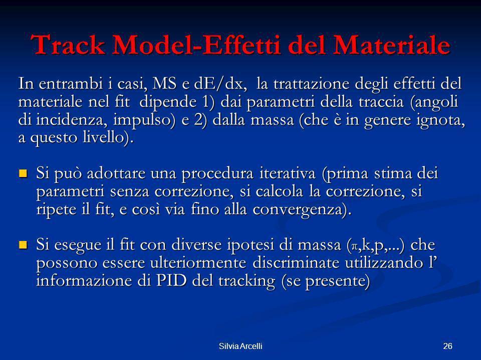 26Silvia Arcelli Track Model-Effetti del Materiale In entrambi i casi, MS e dE/dx, la trattazione degli effetti del materiale nel fit dipende 1) dai p