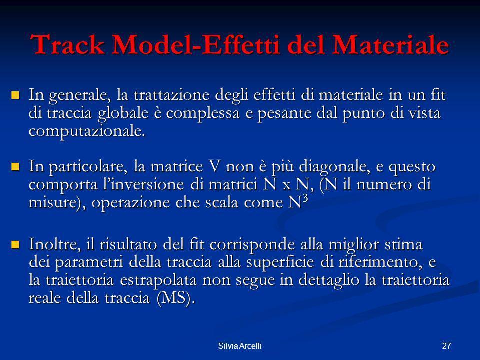 27Silvia Arcelli Track Model-Effetti del Materiale In generale, la trattazione degli effetti di materiale in un fit di traccia globale è complessa e p
