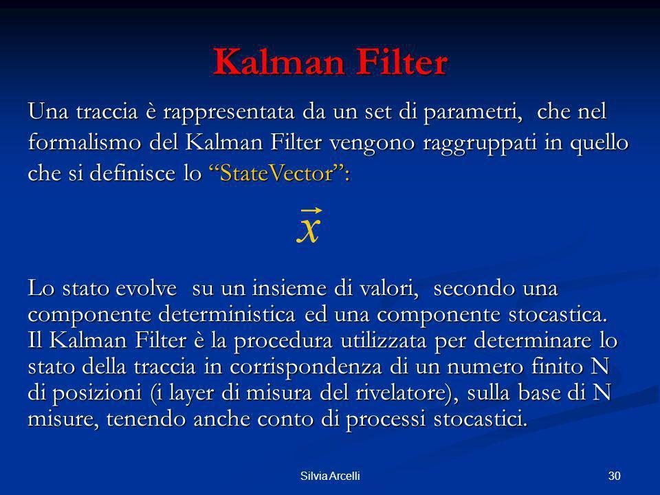 30Silvia Arcelli Kalman Filter Una traccia è rappresentata da un set di parametri, che nel formalismo del Kalman Filter vengono raggruppati in quello