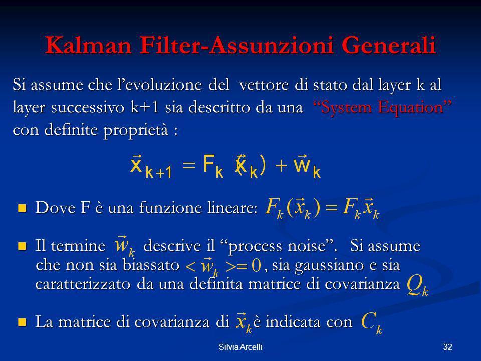 32Silvia Arcelli Kalman Filter-Assunzioni Generali Dove F è una funzione lineare: Dove F è una funzione lineare: Il termine descrive il process noise.