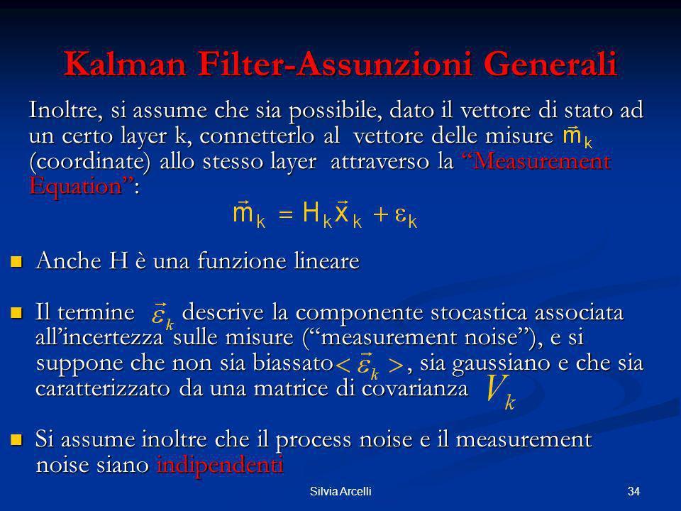 34Silvia Arcelli Kalman Filter-Assunzioni Generali Anche H è una funzione lineare Anche H è una funzione lineare Il termine descrive la componente sto