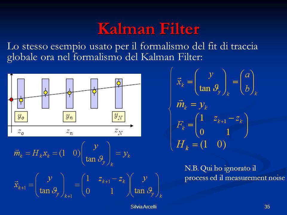 35Silvia Arcelli Kalman Filter Kalman Filter Lo stesso esempio usato per il formalismo del fit di traccia globale ora nel formalismo del Kalman Filter